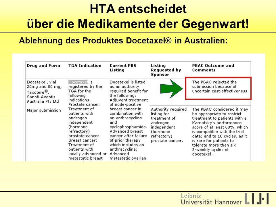 Ablehnung des Produktes Docetaxel® in Australien: HTA entscheidet über die Medikamente der Gegenwart!