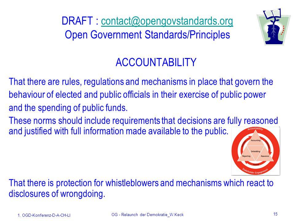 1. OGD-Konferenz-D-A-CH-LI OG - Relaunch der Demokratie_W.Keck 15 DRAFT : contact@opengovstandards.org Open Government Standards/Principlescontact@ope