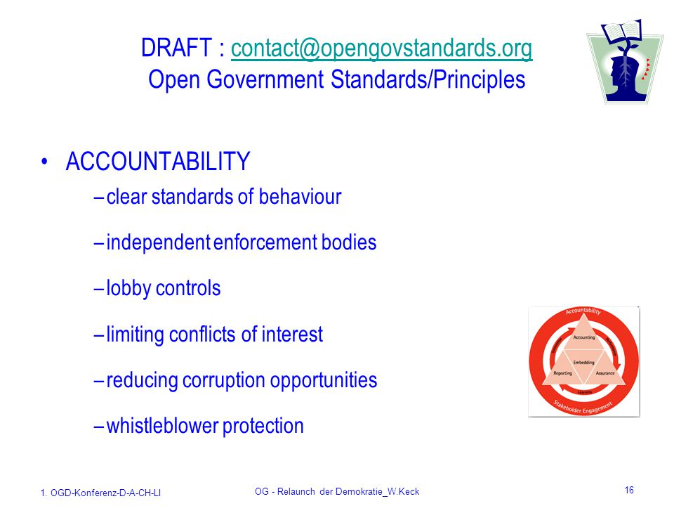 1. OGD-Konferenz-D-A-CH-LI OG - Relaunch der Demokratie_W.Keck 16 DRAFT : contact@opengovstandards.org Open Government Standards/Principlescontact@ope