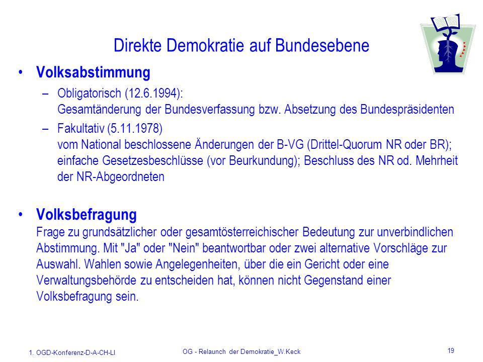 1. OGD-Konferenz-D-A-CH-LI OG - Relaunch der Demokratie_W.Keck 19 Direkte Demokratie auf Bundesebene Volksabstimmung –Obligatorisch (12.6.1994): Gesam