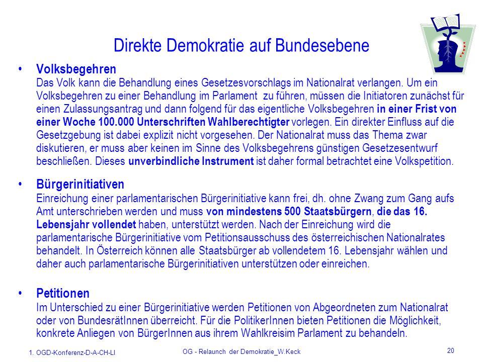 1. OGD-Konferenz-D-A-CH-LI OG - Relaunch der Demokratie_W.Keck 20 Direkte Demokratie auf Bundesebene Volksbegehren Das Volk kann die Behandlung eines
