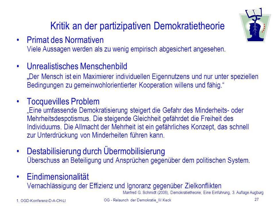 1. OGD-Konferenz-D-A-CH-LI OG - Relaunch der Demokratie_W.Keck 27 Kritik an der partizipativen Demokratietheorie Primat des Normativen Viele Aussagen