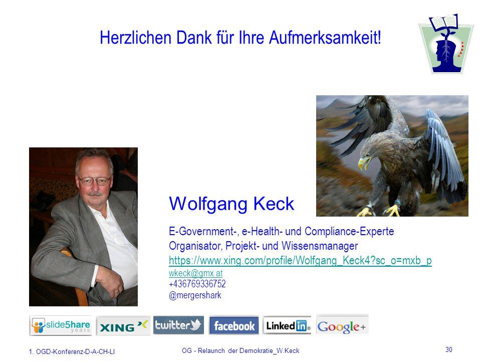 1. OGD-Konferenz-D-A-CH-LI OG - Relaunch der Demokratie_W.Keck 30 Herzlichen Dank für Ihre Aufmerksamkeit! E-Government-, e-Health- und Compliance-Exp