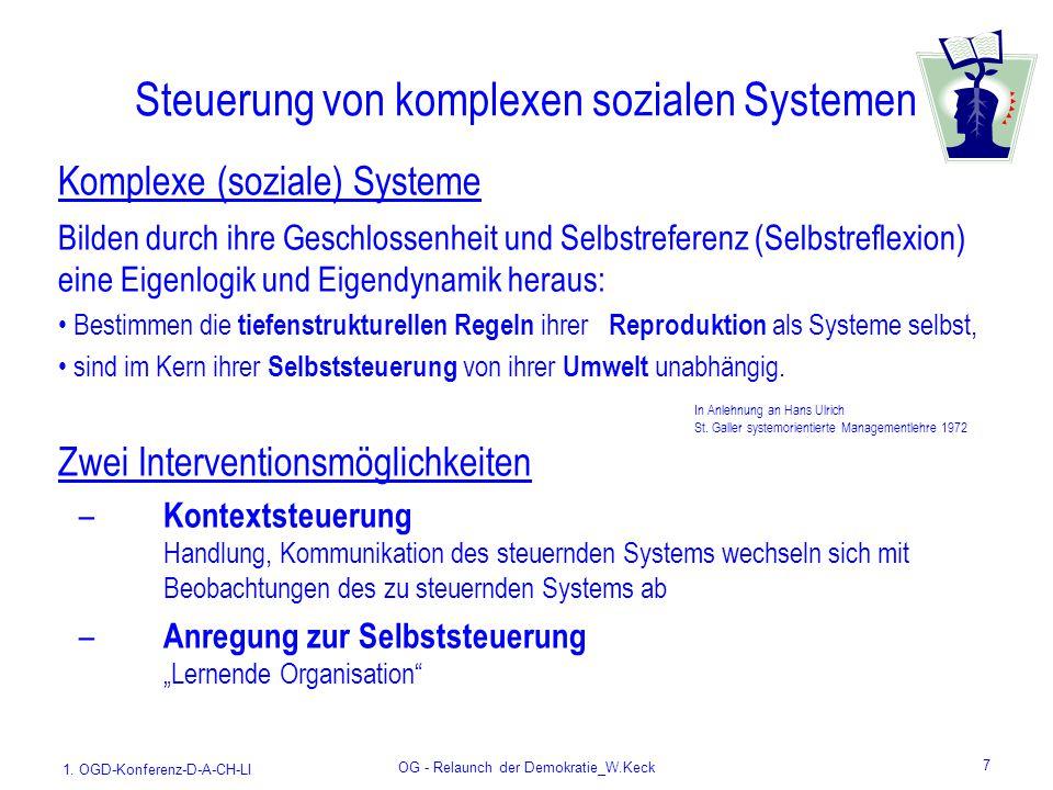 1. OGD-Konferenz-D-A-CH-LI OG - Relaunch der Demokratie_W.Keck 7 Steuerung von komplexen sozialen Systemen Komplexe (soziale) Systeme Bilden durch ihr