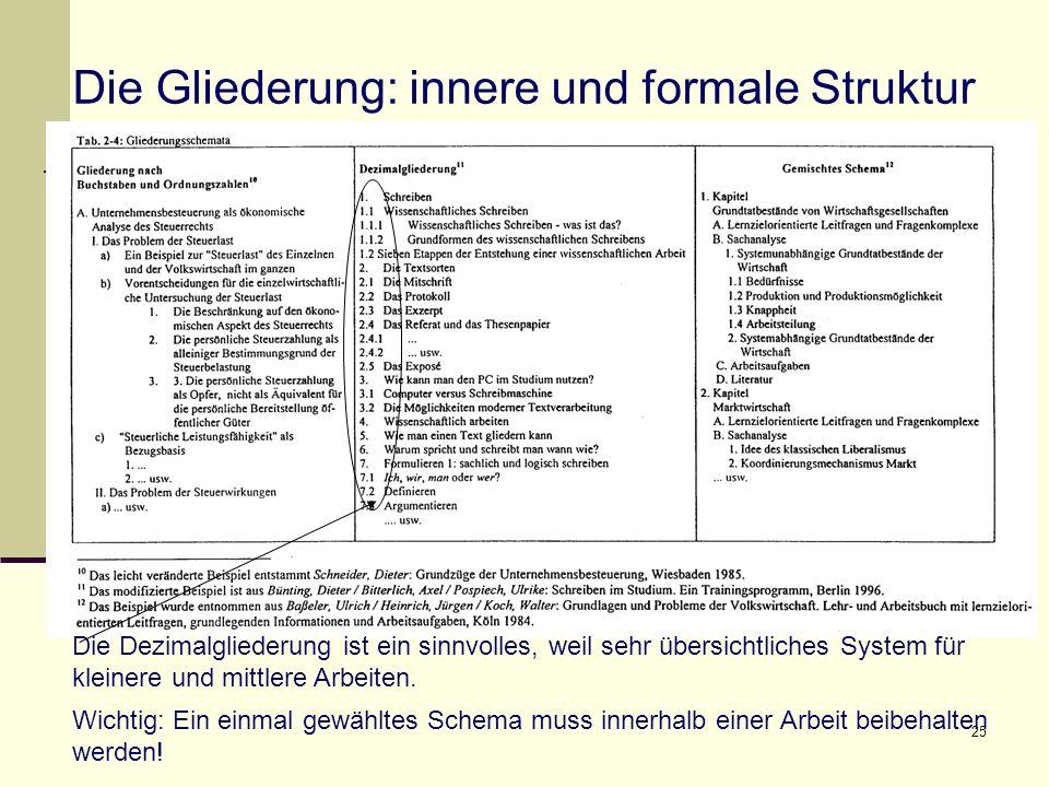 25 Die Gliederung: innere und formale Struktur Die Dezimalgliederung ist ein sinnvolles, weil sehr übersichtliches System für kleinere und mittlere Arbeiten.