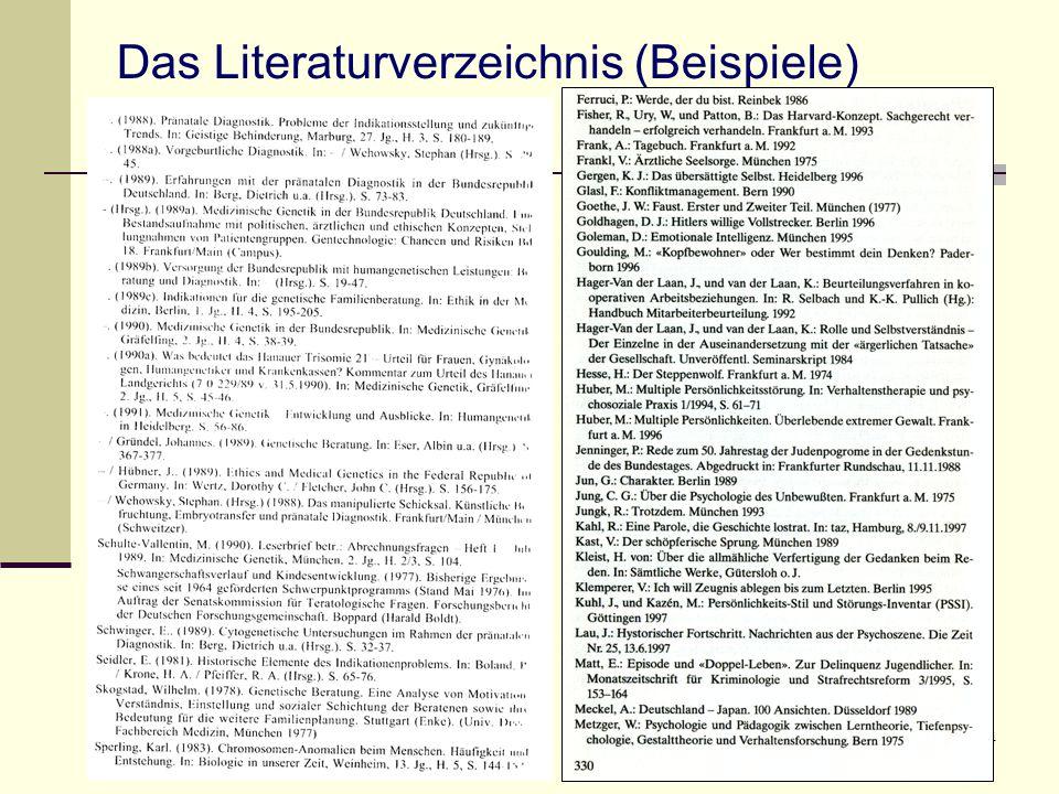 34 Das Literaturverzeichnis (Beispiele)