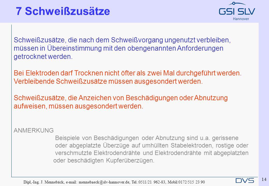 Dipl,-Ing. J. Mennebäck, e-mail: mennebaeck@slv-hannover.de, Tel.:0511/21 962-83, Mobil:0172/515 23 90 14 Schweißzusätze, die nach dem Schweißvorgang