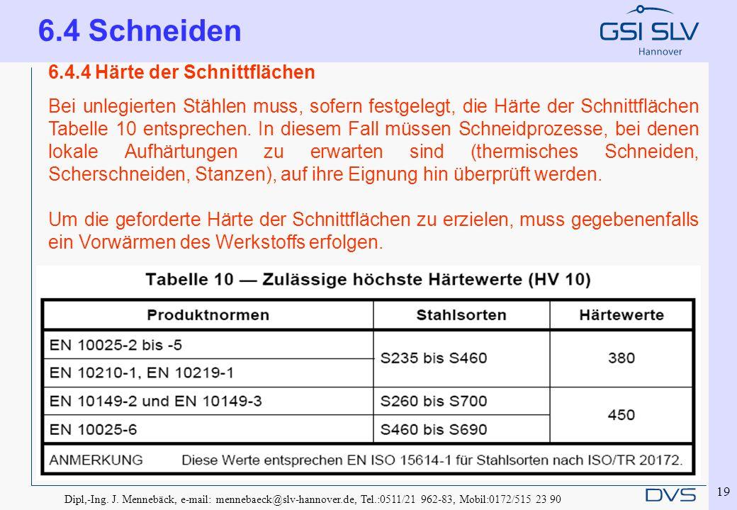 Dipl,-Ing. J. Mennebäck, e-mail: mennebaeck@slv-hannover.de, Tel.:0511/21 962-83, Mobil:0172/515 23 90 19 6.4.4 Härte der Schnittflächen Bei unlegiert