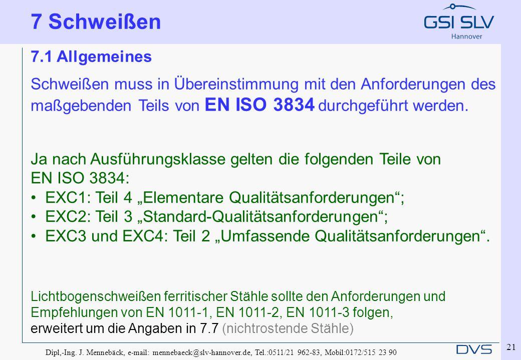 Dipl,-Ing. J. Mennebäck, e-mail: mennebaeck@slv-hannover.de, Tel.:0511/21 962-83, Mobil:0172/515 23 90 21 7.1 Allgemeines Schweißen muss in Übereinsti