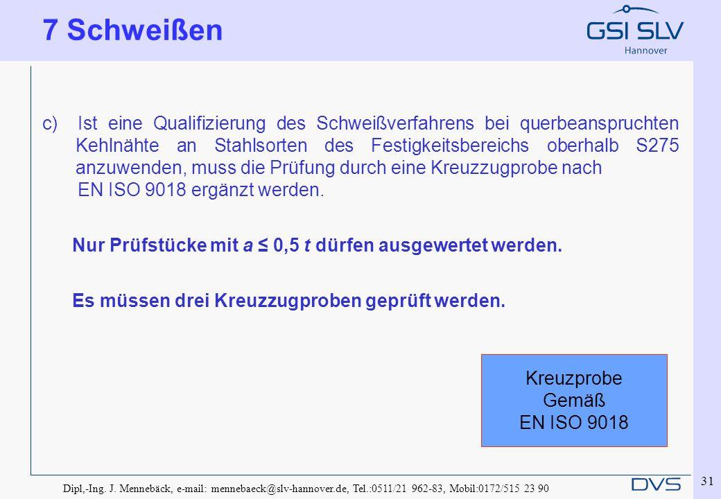 Dipl,-Ing. J. Mennebäck, e-mail: mennebaeck@slv-hannover.de, Tel.:0511/21 962-83, Mobil:0172/515 23 90 31 c) Ist eine Qualifizierung des Schweißverfah