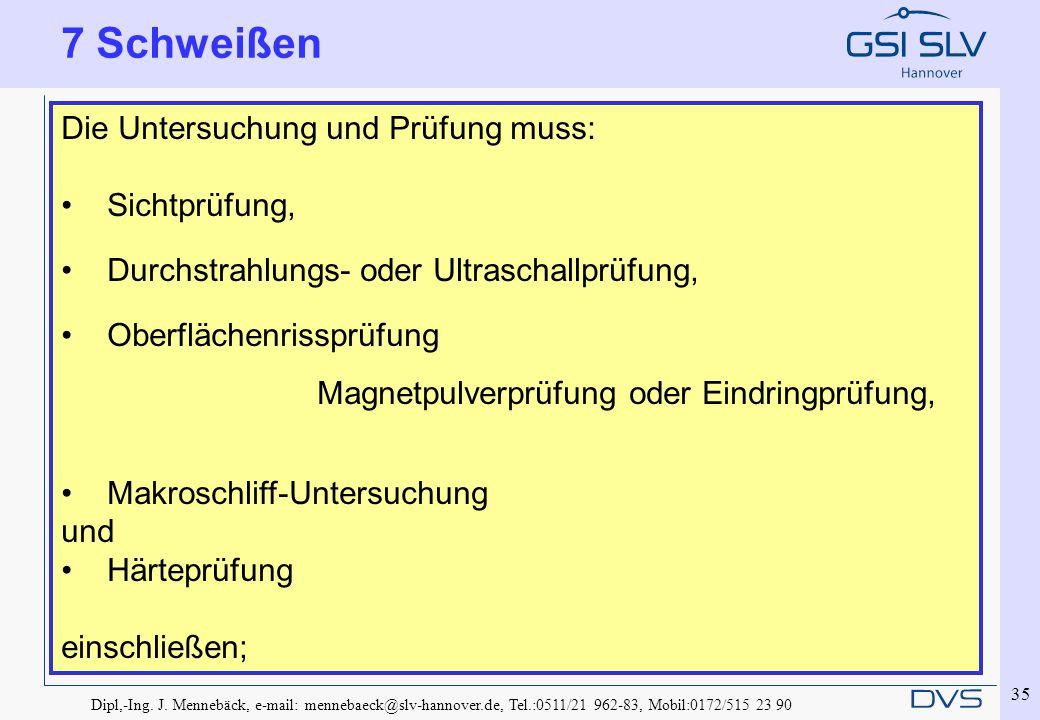 Dipl,-Ing. J. Mennebäck, e-mail: mennebaeck@slv-hannover.de, Tel.:0511/21 962-83, Mobil:0172/515 23 90 35 7 Schweißen Die Untersuchung und Prüfung mus