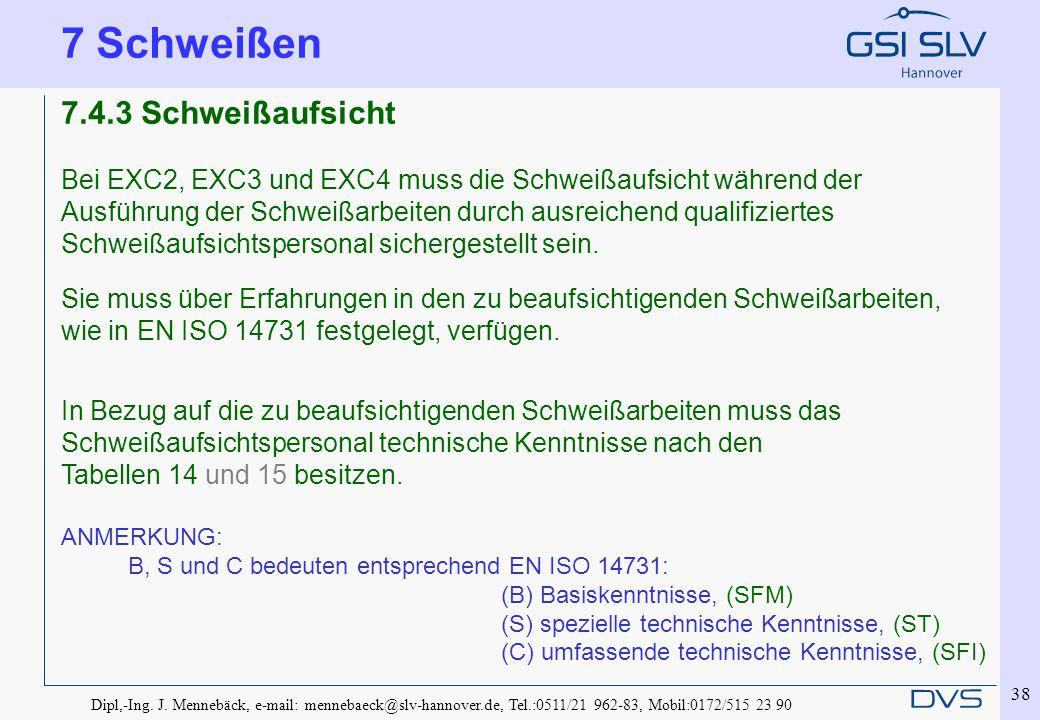 Dipl,-Ing. J. Mennebäck, e-mail: mennebaeck@slv-hannover.de, Tel.:0511/21 962-83, Mobil:0172/515 23 90 38 7.4.3 Schweißaufsicht Bei EXC2, EXC3 und EXC