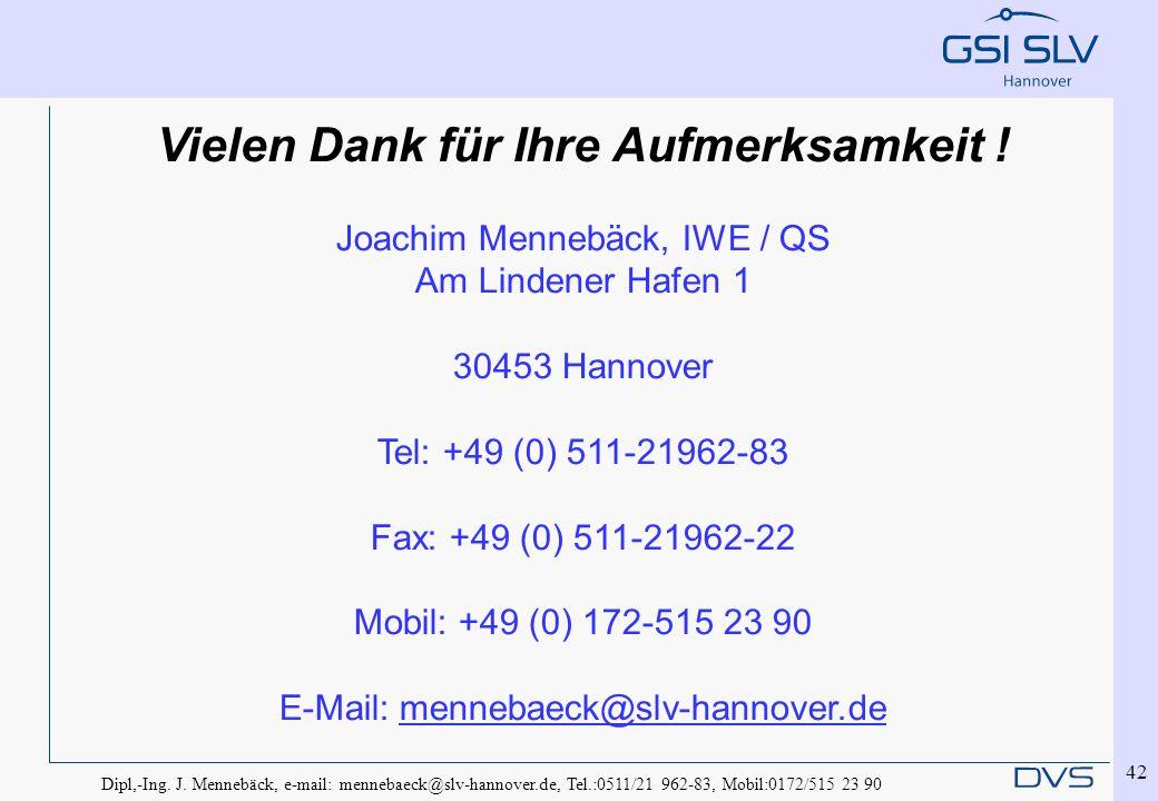 Dipl,-Ing. J. Mennebäck, e-mail: mennebaeck@slv-hannover.de, Tel.:0511/21 962-83, Mobil:0172/515 23 90 42 Vielen Dank für Ihre Aufmerksamkeit ! Joachi
