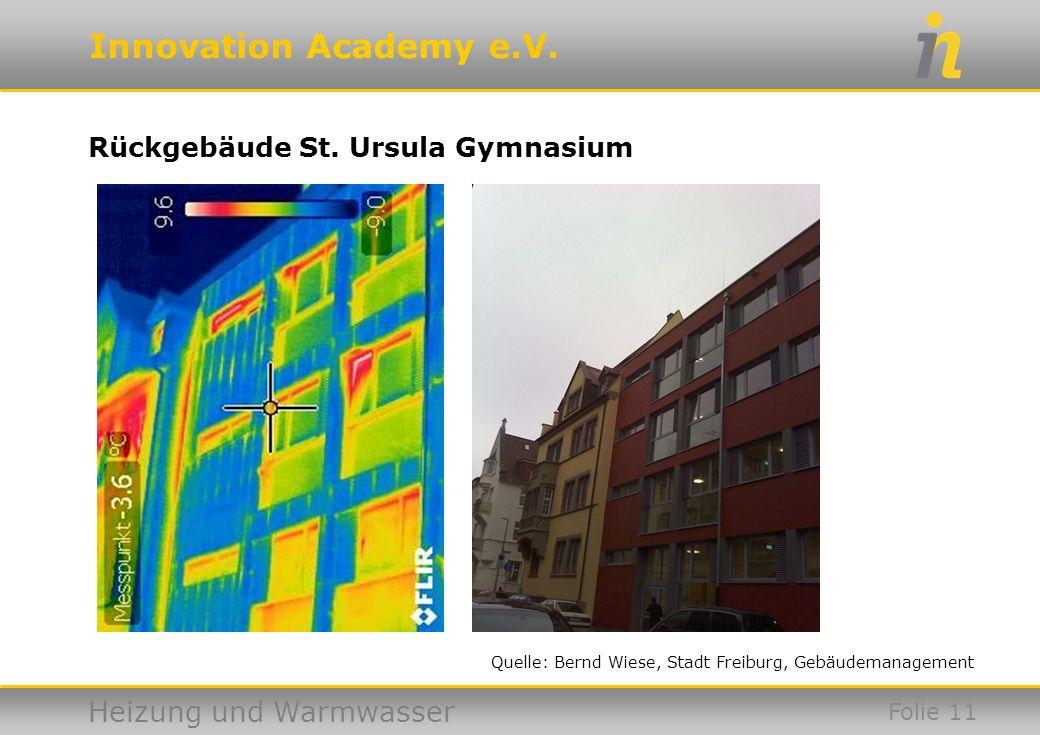 Innovation Academy e.V. Heizung und Warmwasser Rückgebäude St. Ursula Gymnasium Folie 11 Quelle: Bernd Wiese, Stadt Freiburg, Gebäudemanagement