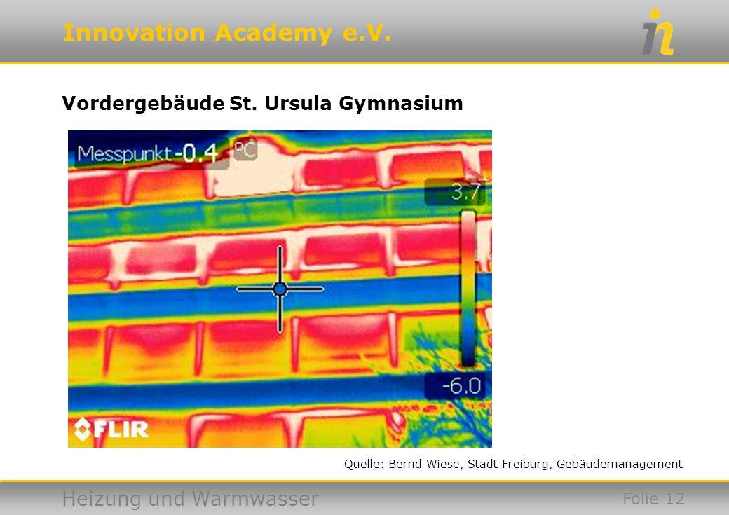 Innovation Academy e.V. Heizung und Warmwasser Vordergebäude St. Ursula Gymnasium Folie 12 Quelle: Bernd Wiese, Stadt Freiburg, Gebäudemanagement