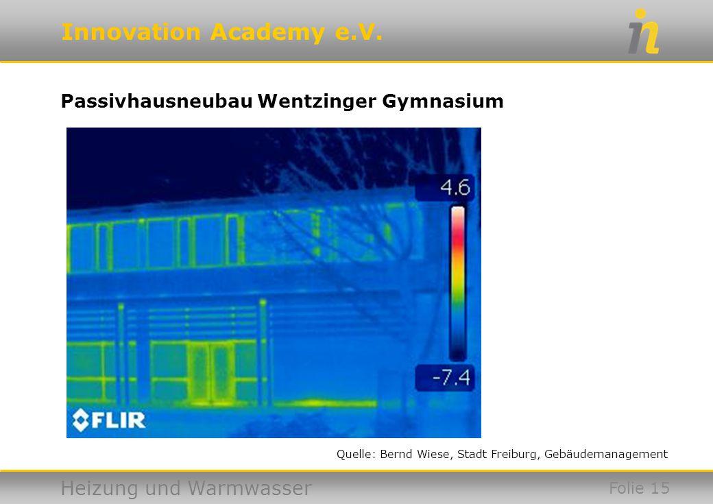 Innovation Academy e.V. Heizung und Warmwasser Passivhausneubau Wentzinger Gymnasium Folie 15 Quelle: Bernd Wiese, Stadt Freiburg, Gebäudemanagement