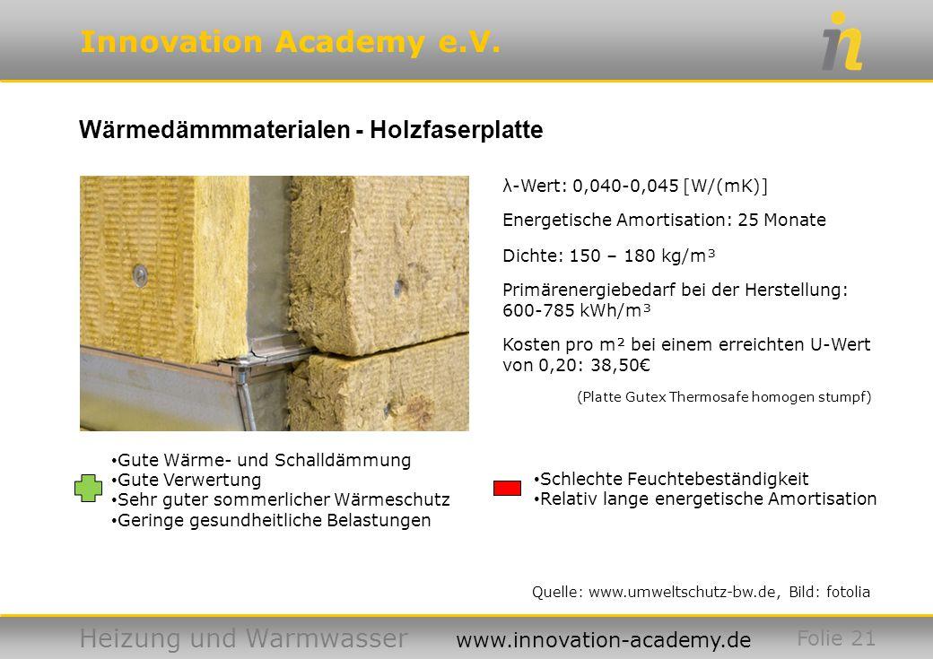 Innovation Academy e.V. Heizung und Warmwasser www.innovation-academy.de Wärmedämmmaterialen - Holzfaserplatte Folie 21 Quelle: www.umweltschutz-bw.de