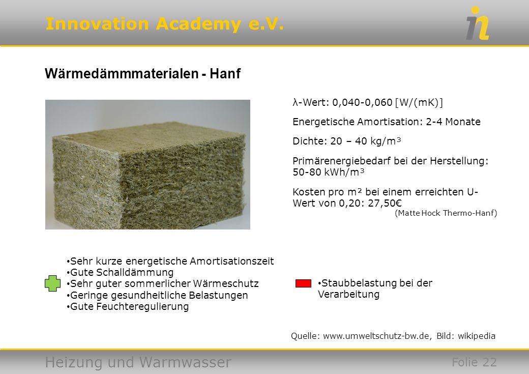 Innovation Academy e.V. Heizung und Warmwasser Wärmedämmmaterialen - Hanf Folie 22 Quelle: www.umweltschutz-bw.de, Bild: wikipedia Sehr kurze energeti