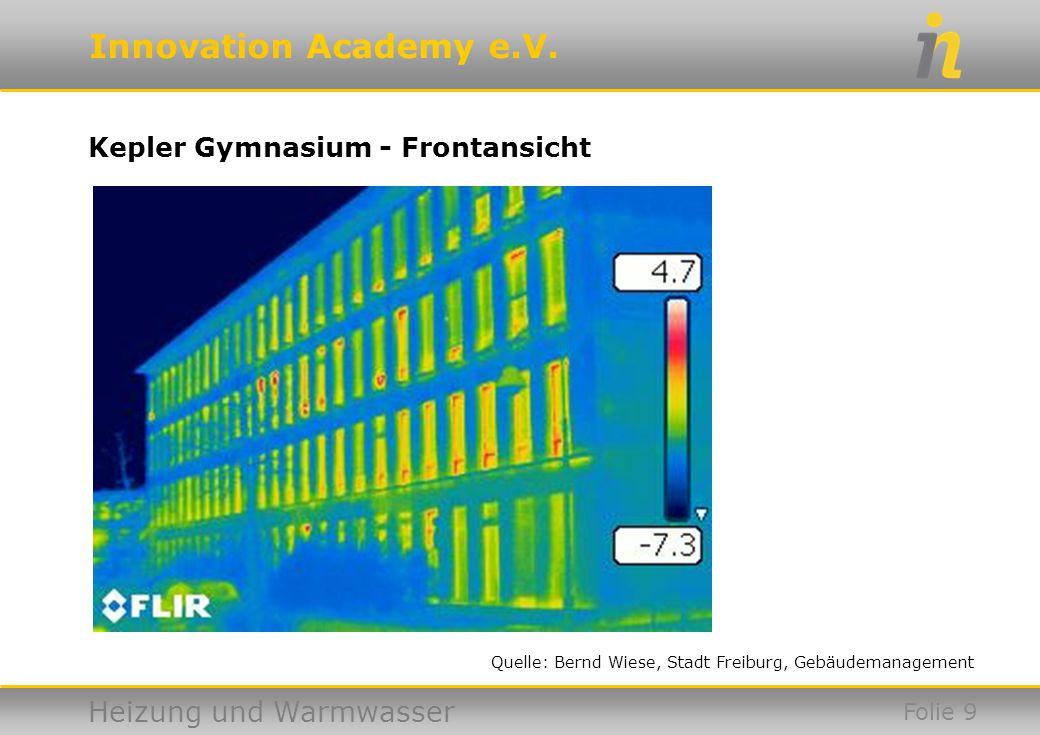 Innovation Academy e.V. Heizung und Warmwasser Kepler Gymnasium - Frontansicht Folie 9 Quelle: Bernd Wiese, Stadt Freiburg, Gebäudemanagement