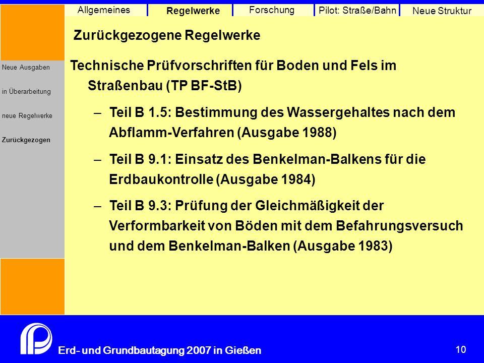 10 Erd- und Grundbautagung 2007 in Gießen 10 Pilot: Straße/Bahn Neue Struktur Allgemeines Regelwerke Forschung Neue Ausgaben in Überarbeitung neue Reg