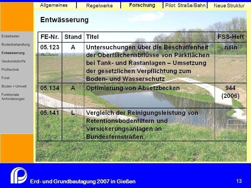 13 Erd- und Grundbautagung 2007 in Gießen 13 Pilot: Straße/Bahn Neue Struktur Allgemeines Regelwerke Forschung Erdarbeiten Bodenbehandlung Entwässerung Geokunststoffe Prüftechnik Frost Boden + Umwelt Funktionale Anforderungen Entwässerung