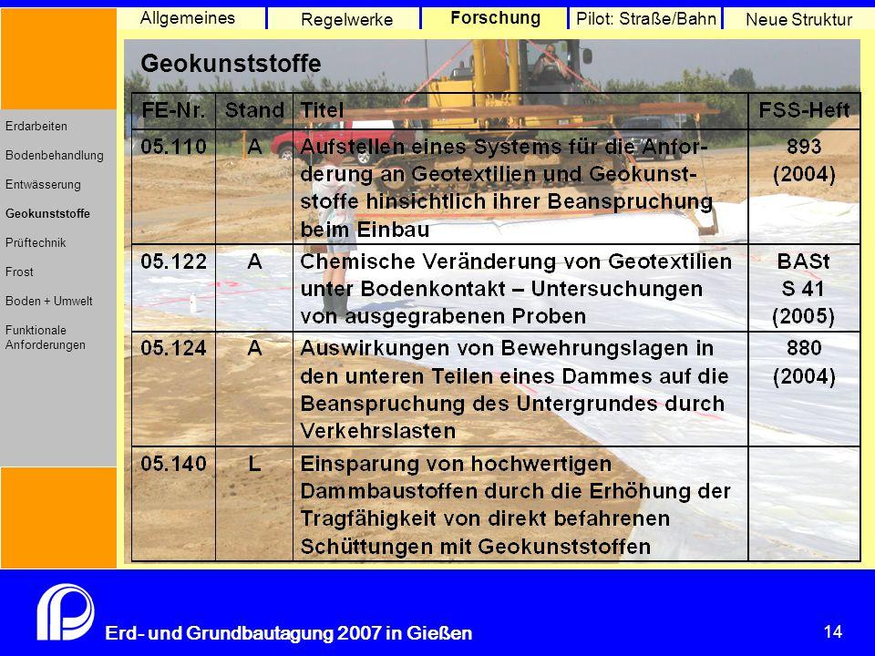 14 Erd- und Grundbautagung 2007 in Gießen 14 Pilot: Straße/Bahn Neue Struktur Allgemeines Regelwerke Forschung Erdarbeiten Bodenbehandlung Entwässerung Geokunststoffe Prüftechnik Frost Boden + Umwelt Funktionale Anforderungen Geokunststoffe