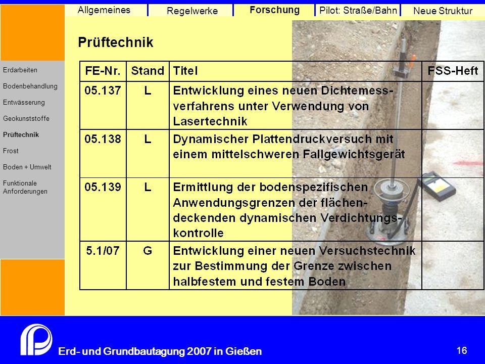 16 Erd- und Grundbautagung 2007 in Gießen 16 Pilot: Straße/Bahn Neue Struktur Allgemeines Regelwerke Forschung Erdarbeiten Bodenbehandlung Entwässerung Geokunststoffe Prüftechnik Frost Boden + Umwelt Funktionale Anforderungen Prüftechnik