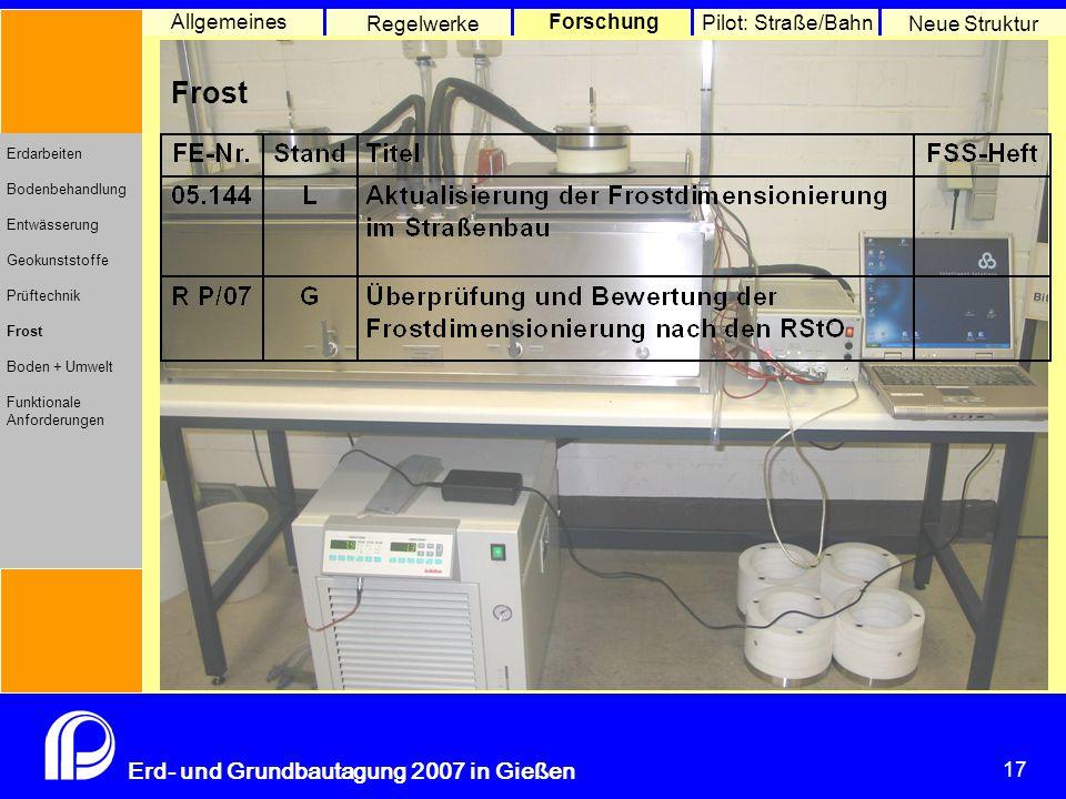 17 Erd- und Grundbautagung 2007 in Gießen 17 Pilot: Straße/Bahn Neue Struktur Allgemeines Regelwerke Forschung Erdarbeiten Bodenbehandlung Entwässerun