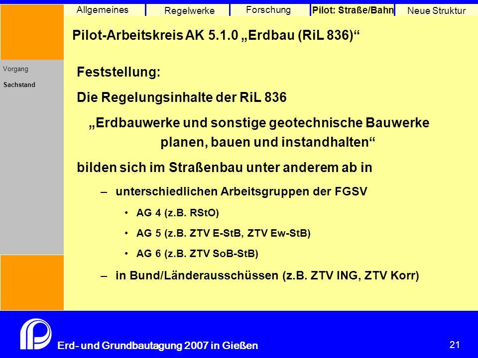 """21 Erd- und Grundbautagung 2007 in Gießen 21 Pilot: Straße/Bahn Neue Struktur Allgemeines Regelwerke Forschung Pilot-Arbeitskreis AK 5.1.0 """"Erdbau (RiL 836) Vorgang Sachstand Feststellung: Die Regelungsinhalte der RiL 836 """"Erdbauwerke und sonstige geotechnische Bauwerke planen, bauen und instandhalten bilden sich im Straßenbau unter anderem ab in –unterschiedlichen Arbeitsgruppen der FGSV AG 4 (z.B."""