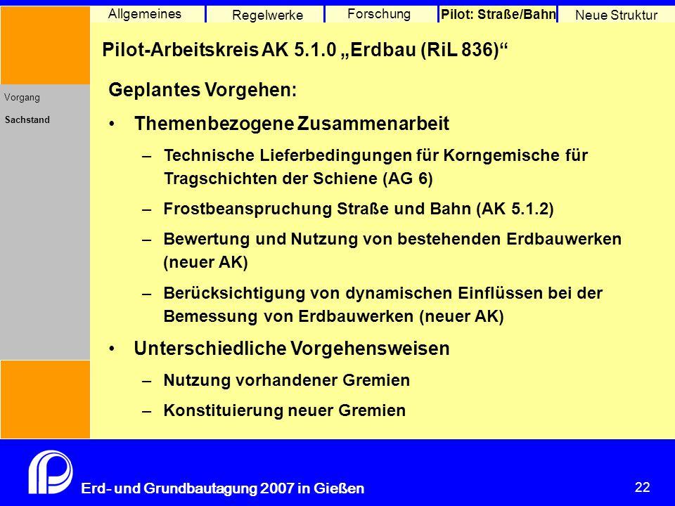 """22 Erd- und Grundbautagung 2007 in Gießen 22 Pilot: Straße/Bahn Neue Struktur Allgemeines Regelwerke Forschung Pilot-Arbeitskreis AK 5.1.0 """"Erdbau (Ri"""