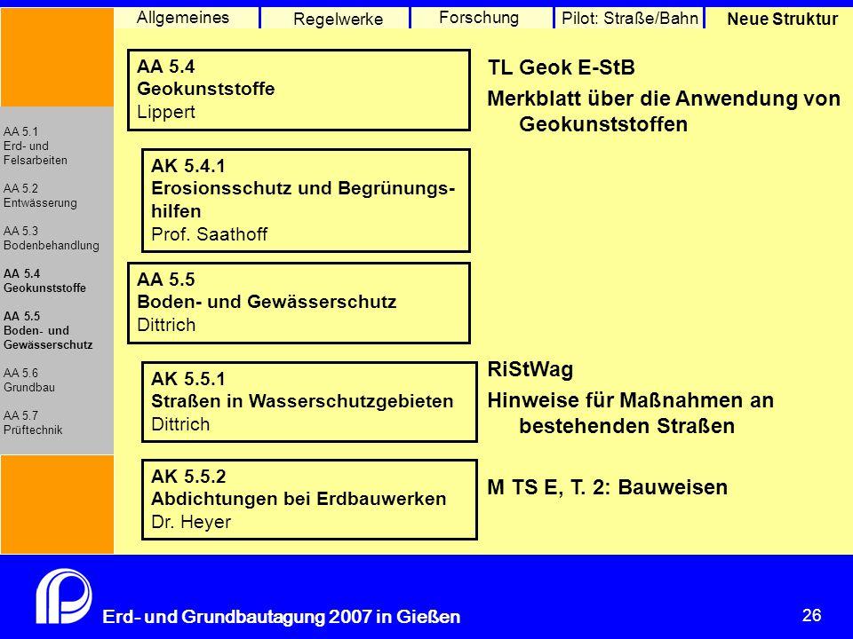 26 Erd- und Grundbautagung 2007 in Gießen 26 Pilot: Straße/Bahn Neue Struktur Allgemeines Regelwerke Forschung AA 5.1 Erd- und Felsarbeiten AA 5.2 Entwässerung AA 5.3 Bodenbehandlung AA 5.4 Geokunststoffe AA 5.5 Boden- und Gewässerschutz AA 5.6 Grundbau AA 5.7 Prüftechnik AA 5.4 Geokunststoffe Lippert AK 5.4.1 Erosionsschutz und Begrünungs- hilfen Prof.
