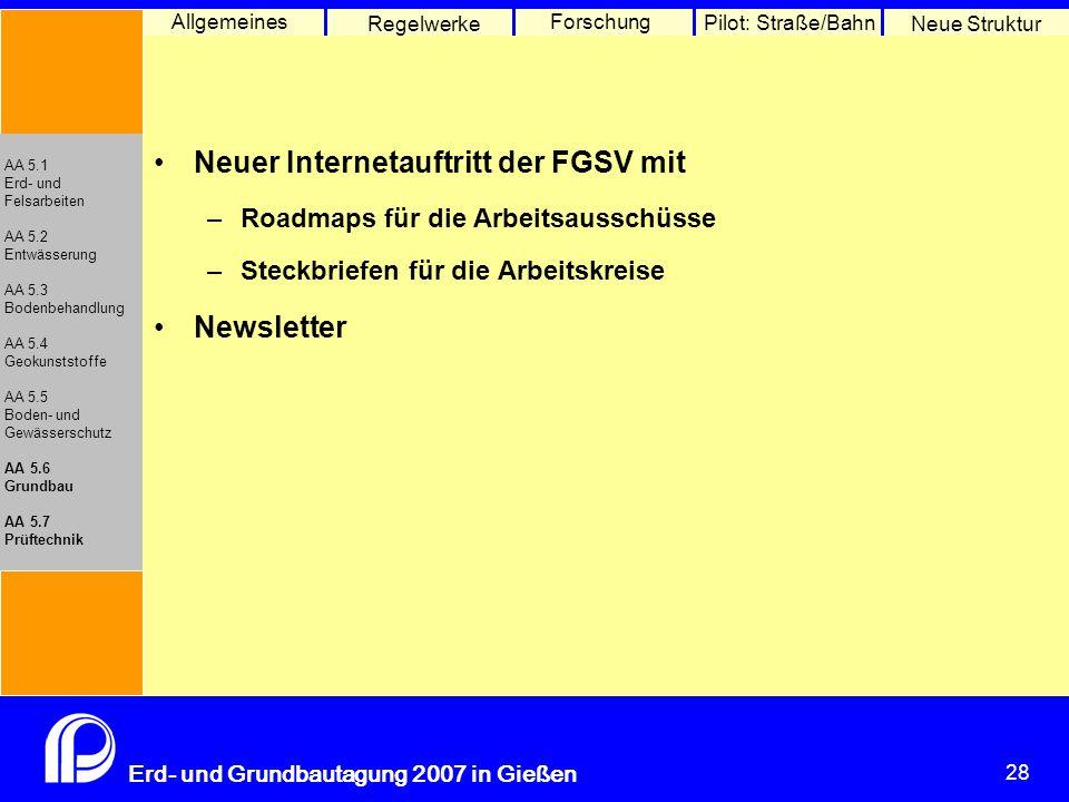 28 Erd- und Grundbautagung 2007 in Gießen 28 Pilot: Straße/Bahn Neue Struktur Allgemeines Regelwerke Forschung AA 5.1 Erd- und Felsarbeiten AA 5.2 Ent