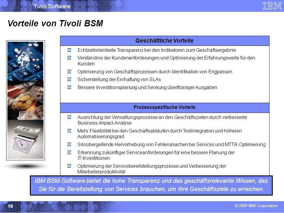 © 2009 IBM Corporation Tivoli Software 19 Vorteile von Tivoli BSM IBM BSM-Software bietet die hohe Transparenz und das geschäftsrelevante Wissen, das