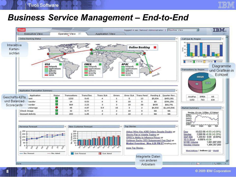 © 2009 IBM Corporation Tivoli Software 9 Business Service Management – Servicedetails Balanced Scorecards und KPIs SLA- Performance- Tracking Echtzeitsichten zu Service- abhängigkeiten Kontextspezifische Sichten zu föderierten Daten/geschäfts- relevantem Wissen Echtzeitsichten zu Ereignissen und Fehlerursachen