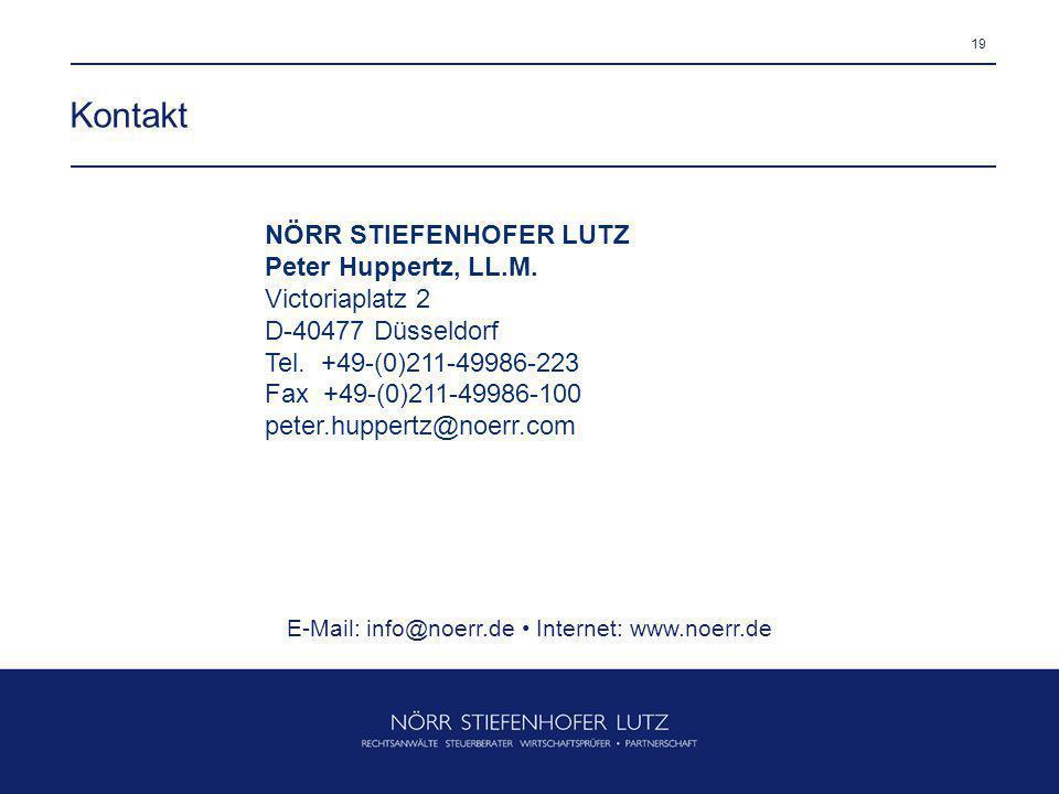 19 Kontakt NÖRR STIEFENHOFER LUTZ Peter Huppertz, LL.M. Victoriaplatz 2 D-40477 Düsseldorf Tel. +49-(0)211-49986-223 Fax +49-(0)211-49986-100 peter.hu