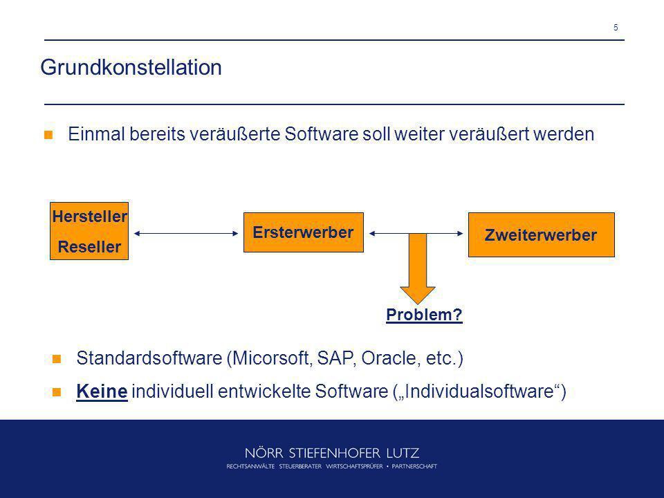 5 Grundkonstellation Hersteller Reseller Ersterwerber Zweiterwerber Einmal bereits veräußerte Software soll weiter veräußert werden Problem? Standards