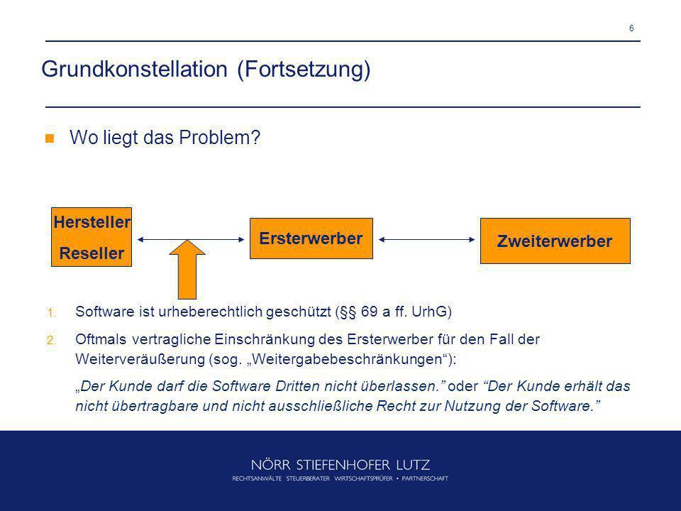 6 Grundkonstellation (Fortsetzung) Hersteller Reseller Ersterwerber Zweiterwerber Wo liegt das Problem? 1. Software ist urheberechtlich geschützt (§§