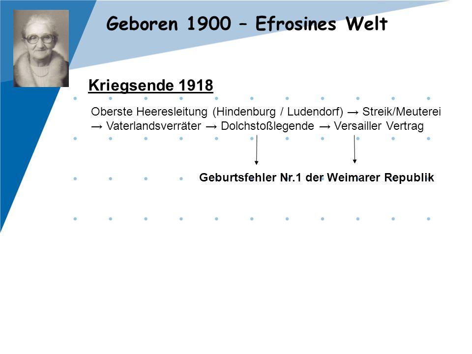 Geboren 1900 – Efrosines Welt Kriegsende 1918 Oberste Heeresleitung (Hindenburg / Ludendorf) → Streik/Meuterei → Vaterlandsverräter → Dolchstoßlegende