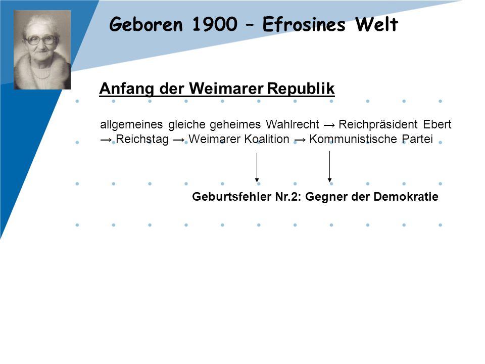 Geboren 1900 – Efrosines Welt Anfang der Weimarer Republik allgemeines gleiche geheimes Wahlrecht → Reichpräsident Ebert → Reichstag → Weimarer Koalit