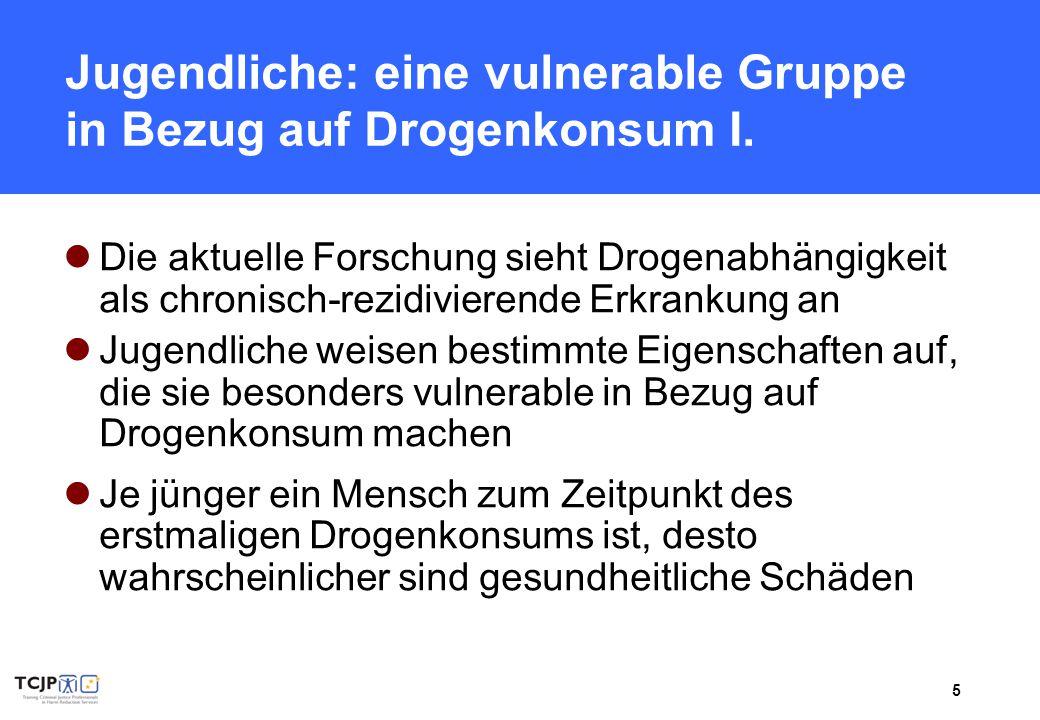 6 Jugendliche: eine vulnerable Gruppe in Bezug auf Drogenkonsum II.