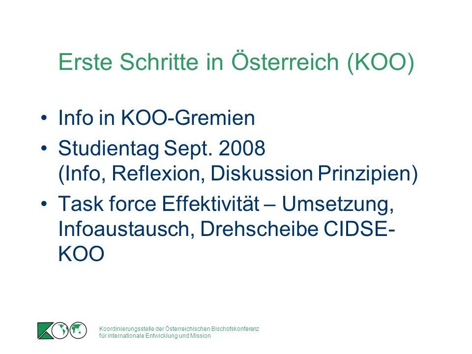 Koordinierungsstelle der Österreichischen Bischofskonferenz für internationale Entwicklung und Mission Erste Schritte in Österreich (KOO) Info in KOO-