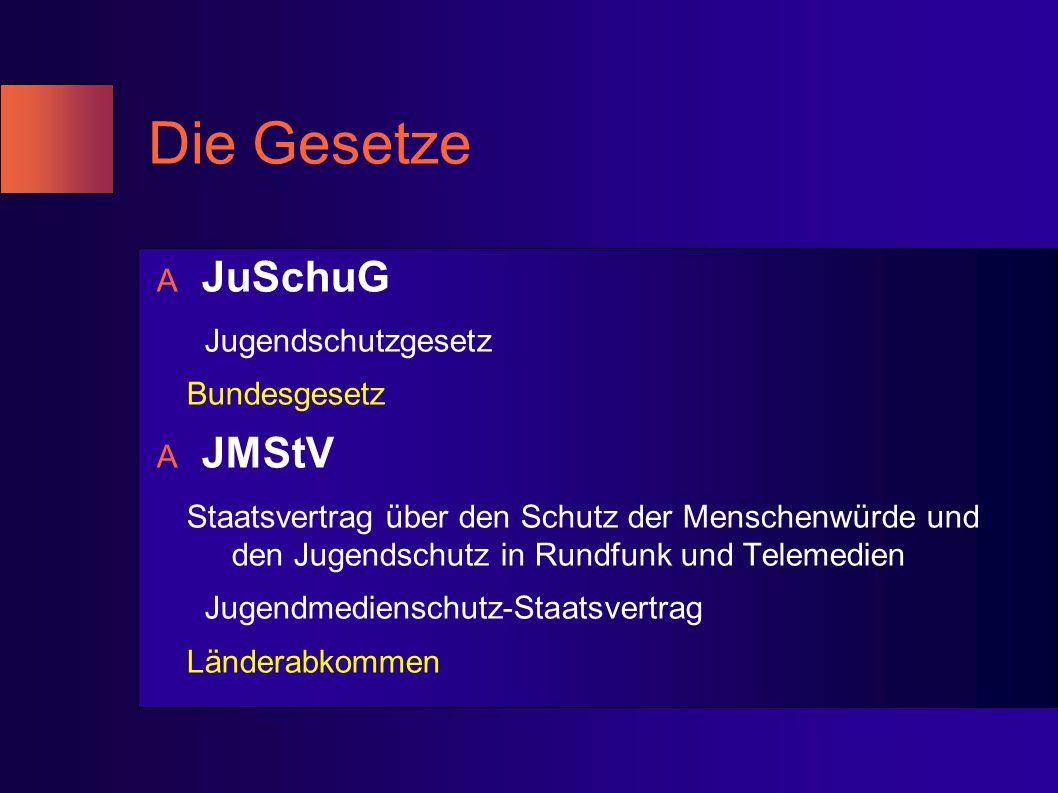 Die Gesetze A JuSchuG Jugendschutzgesetz Bundesgesetz A JMStV Staatsvertrag über den Schutz der Menschenwürde und den Jugendschutz in Rundfunk und Tel