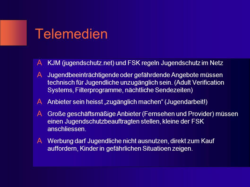 Telemedien A KJM (jugendschutz.net) und FSK regeln Jugendschutz im Netz A Jugendbeeinträchtigende oder gefährdende Angebote müssen technisch für Jugen