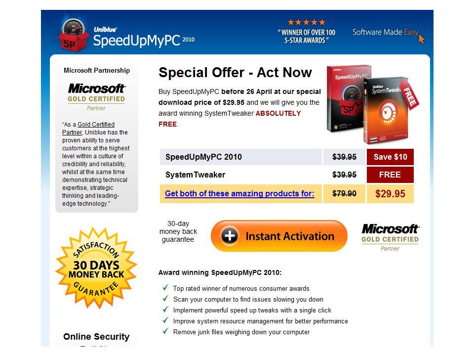 SpeedUpMyPC Wer sich das Geld sparen möchte, kann auch folgendes tun: 1.Cache von IE, Chrom, Firefox löschen 2.Testversion von TuneUp installieren und ausführen 3.DiskCleanup von Microsoft starten 4.Das PCWelt Script pcwSysFolds ausführen um alle Pfade zu finden und dort temporäre Dateien löschen..