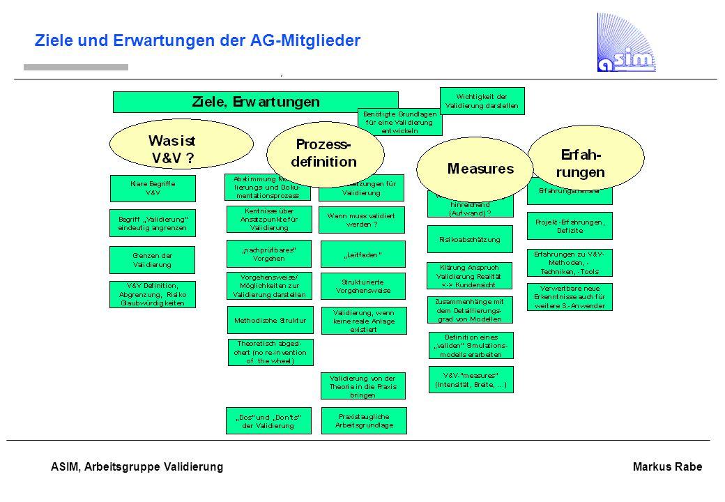 ASIM, Arbeitsgruppe Validierung Markus Rabe Von AG-Mitgliedern gewünschte Aktivitäten