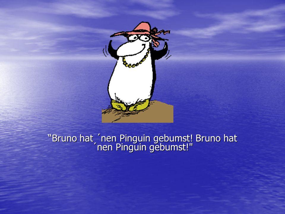 """""""Bruno hat ´nen Pinguin gebumst! Bruno hat ´nen Pinguin gebumst!"""