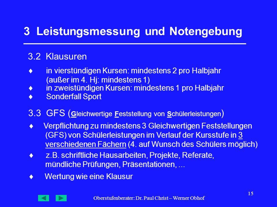 Oberstufenberater: Dr. Paul Christ – Werner Obhof 15 3 Leistungsmessung und Notengebung ___________________________________ 3.2 Klausuren 3.3 GFS ( Gl