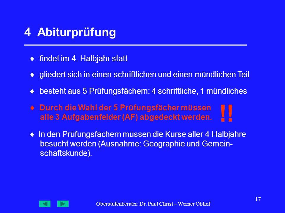 Oberstufenberater: Dr. Paul Christ – Werner Obhof 17 4 Abiturprüfung __________________________________  findet im 4. Halbjahr statt  gliedert sich