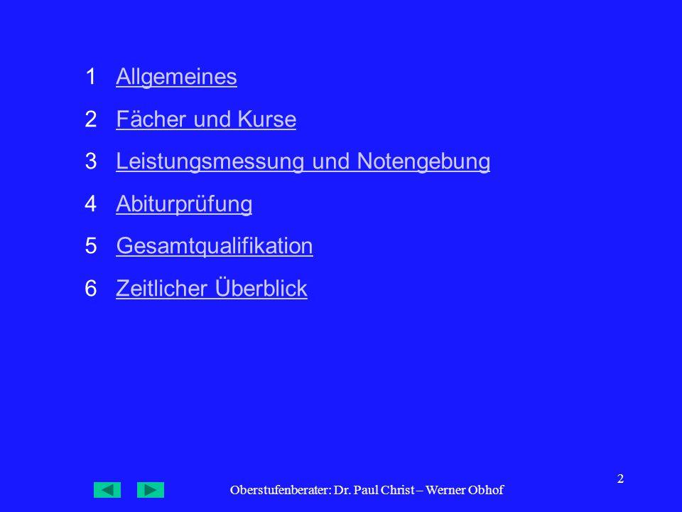 Oberstufenberater: Dr. Paul Christ – Werner Obhof 33 7 Wahlbogen