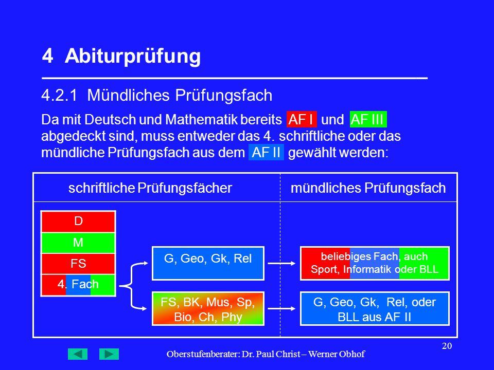 Oberstufenberater: Dr. Paul Christ – Werner Obhof 20 4 Abiturprüfung __________________________________ 4.2.1 Mündliches Prüfungsfach G, Geo, Gk, Rel